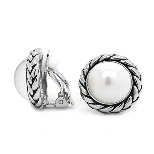 Pearl Rope Earrings (Sparkly Bride Braided Rope Simulated Pearl Antique Style Fashion Clip On)