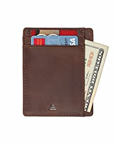 Andar Leather Slim Wallet, Minimalist Front Pocket RFID Blocking Card Holder Made of Full Grain Leather