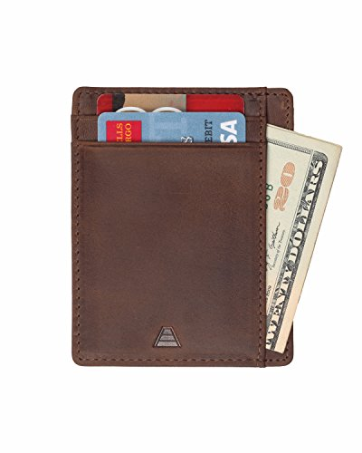 Andar Leather Slim Wallet, Minimalist Front Pocket RFID Blocking Card Holder Made of Full Grain Leather (Dark Brown)