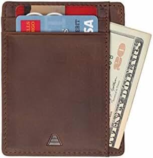 Andar Leather Slim Wallet, Minimalist Front Pocket RFID Blocking Card Holder Made of Full Grain Leather