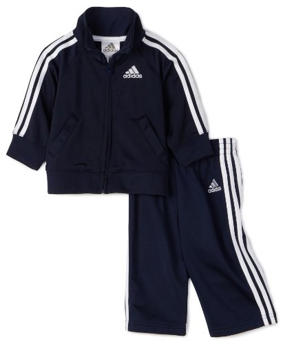 adidas Baby Boys' Iconic Tricot Jacket and Pant Set, Navy/White, 6 Months