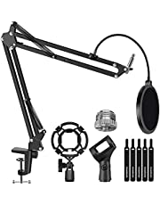 """InnoGear Microphone Stand for Blue Yeti Adjustable Suspension Boom Scissor Arm Stand with 3/8""""to 5/8"""" Screw Adapter Shock Mount Windscreen Pop Filter Mic Clip Holder Cable Ties, Medium"""