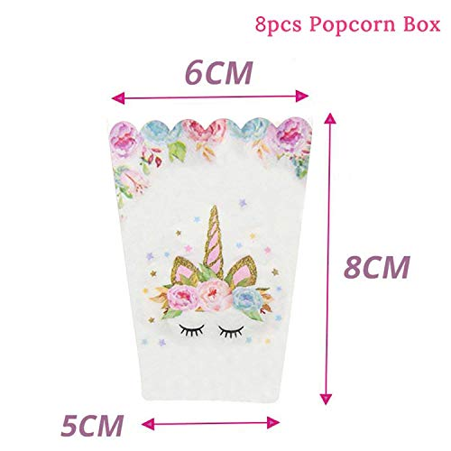 50Pcs Wedding Birthday Party Sweet Cellophane Clear Candy Cone Storage Bags Unicorn Party Decor Easter Decoration 18X37Cm,8Pcs Popcorn Boxes