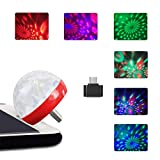 Chezaa USB Mini LED RGB Disco Stage Light Party Club Magic Phone Ball Lamp Making The Environment More Colorful (Red)