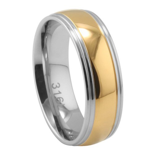 Band Wedding Ladies Tone Two (7MM Stainless Steel Two Tone Domed Wedding Band (Size 6 to 13), 9)