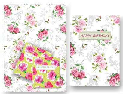 Lujo Rose Chintz regalo y coordina Tarjeta de cumpleaños - 2 ...