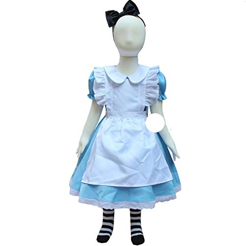 Girl Blue Alice in Wonderland Costume Lolita Maid Dress cFancy Carnival costumess,Blue,6T]()