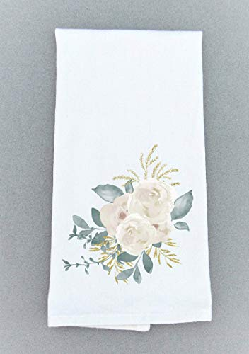 (Magnolia Print Towel, Farmhouse Tea Towel - Kitchen/Bath Floral Decor)