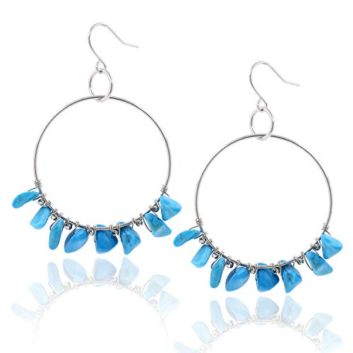 BOUTIQUELOVIN Silver Hoop Turquoise Stone Earrings Gemstone Beads Large Circle Drop Dangle Fashion Jewelry for Women