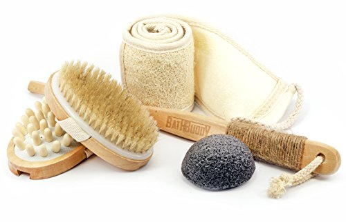 Body Brush from Natural Boar Bristle, for Dry Skin Brushing & Massaging Back Brush to Reduce Cellulite with Loofah Back Scrubber Including Konjack Sponge