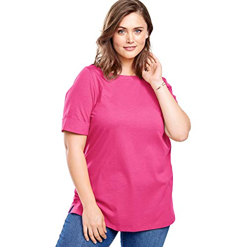 Women's Woman Within Plus Size Perfect Boatneck Cuffed-Sleeve Tee - Raspberry Sorbet, 5X