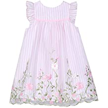 Laura Ashley London Baby Girls Flutter Sleeve Dress with Embroidered Boarder