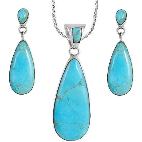 Sterling Silver and Genuine Turquoise Necklace & Earrings Matching Set (Double Drops)