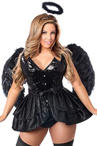 Daisy Corsets Women's Plus-Size Top Drawer Plus Size 4 Pc Fallen Angel Corset Costume, Black, 4X -
