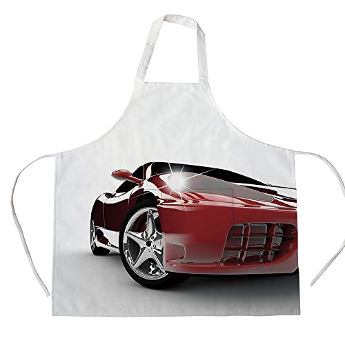 (iPrint Cotton Linen Apron,Two Side Pocket,Teen Room,Modern Automotive Vivid Toned Car Back View Prestige Passion Artistic Image Decorative,Black and Ruby,for Cooking Baking Gardening)
