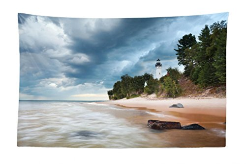 Lunarable Lighthouse Tapestry, Au Sable Lighthouse in Pictured Rock National Lakeshore Michigan USA, Fabric Wall Hanging Decor for Bedroom Living Room Dorm, 45 W X 30 L inches, Blue Green Cinnamon (Big Sable Lighthouse)