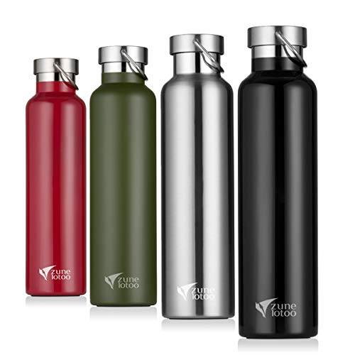 Zune Lotoo Stainless Steel Water Bottle 26oz- Wide Mouth Vacuum Insulated 18/8 Stainless Steel with Leak Proof Flex Cap for Camping,Hiking,Sports (Black)