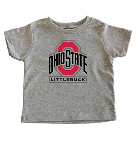 TeeNow - Ohio State Littlebuck - NCAA Ohio State College Football - Kids/Toddler T-Shirt (4T, Grey)