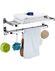 Stainless Steel Bathroom Towel Rack, Kitchen Towel Holders, with Double Towel Bar & 4 Hooks, Anti Slip Anti Scratch Stripe, 50cm/19.7inch