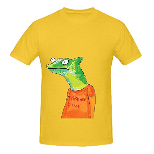 Everything Fine Mens Crew Neck Custom Shirts Yellow (Fancy Dress Cave Girl)