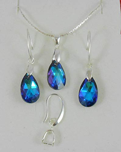 Silver earrings Swarovski Crystal set Pure 99.9 plated 4 Microns thickness Jewelry Drop Earwire Hook Dangle necklace & Chain for Women Bridal Valentine Mother's day Business gift Heliotrope Blue