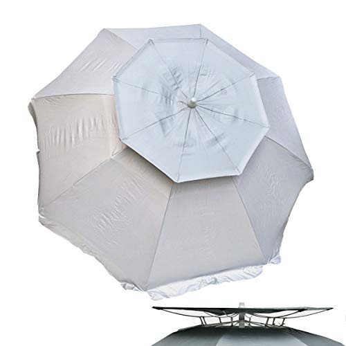 Solar Guard 6 ft Dual Canopy Heavy Duty Beach Umbrella Shelter UPF 150+ Ultra Cool - Wind Resistant
