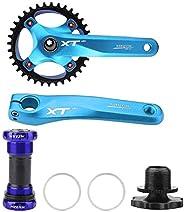 Bike Crank Arm Set, Mountain Bike Aluminum Alloy Crankset Integral Single Speed Crank Set with Bottom Bracket