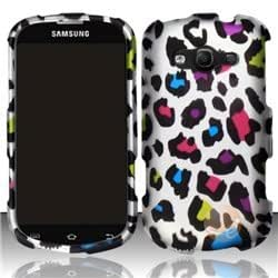 Rubberized Design Cover compatible with Samsung Galaxy Reverb M950, Colorful Leopard