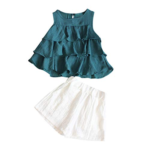 - LiLiMeng Toddler Kids Baby Girls Outfits Summer Clothes Ruffles T-Shirt Vest Tank top+ White Shorts Set Doll Shirt