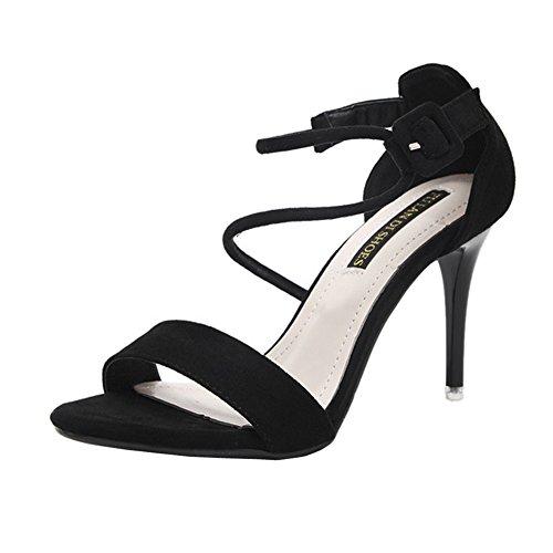 Leder Heel Heels H Sandal High Schwarz CM 5 Toe Womens 8 W Stiletto Wildleder Open Gummisohlen wqxvq84CX