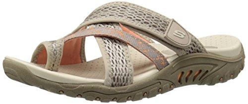 Skechers Women's Reggae Splatter Slide Sandal,Taupe Mesh/Coral Trim,8 M US -
