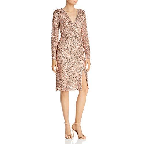 Adrianna Papell Women's Beaded WRAP Dress, Rose Gold, 6