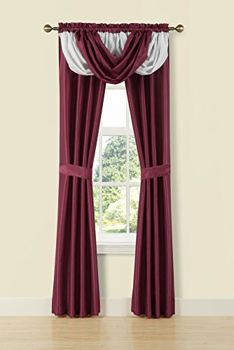 Monte Carlo 5PC Rod Pocket Faux Silk Window Curtain Set, 1 Fringe Valance & 2 Panels Attached with 2 Tie Backs (84″, burgundy/white)