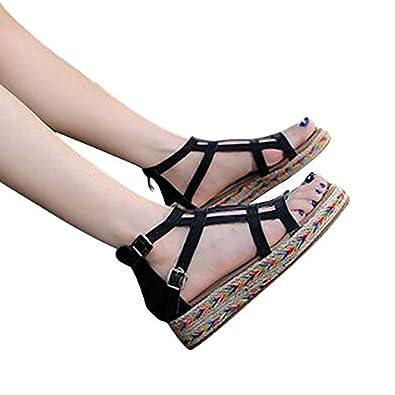 YFF Gladiator Sandalen Plattform Schuhe Frau Slip On Kletterpflanzen Wohnungen sportliche Frauen Schuhe Größe 35-44, weiß, 10.