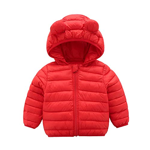CECORC Winter Coats for Kids with Hoods (Padded) Light Puffer Jacket for Outdoor Warmth, Travel, Snow Play | Girls, Boys | Baby, Infants, Toddlers, 18-24-30 Months,2T, Red