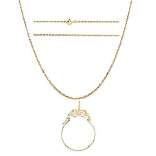 Gold Butterfly Charm Holder (14k Yellow Gold Polished Butterflies Charm Holder on 14K Yellow Gold Rope Chain Necklace, 20