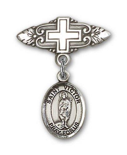 Icecarats Créatrice De Bijoux En Argent Sterling St. Vainqueur De Broches Badge Marseille De Charme Avec Une Croix X 3/4