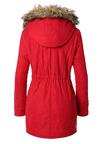 Femme Rouge Manteau S Manches Parka Longues Uni Smithroad HfwOqzq