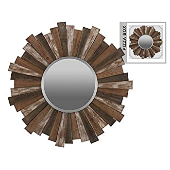 Urban Trends Collection Wood Round Wall Mirror with Sunburst Design and Triangle Hangers Natural Washed Wood Finish Polychromatic (Brown, White and Gray)
