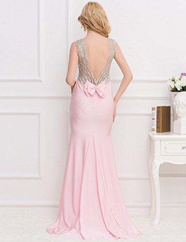 New Damen Pink amp; Silber Open Zurück Abendkleid langes Kleid ...