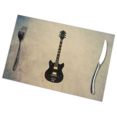 Placemats for Dining Table Set of 6 Guitar Picture Wear-Resistant Heat-Resistant Kitchen Table Mats 18