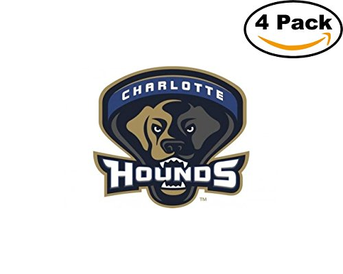 Hound Bumper Sticker (Lacrosse Charlotte Hounds Logo 4 Stickers 4X4 Inches Car Bumper Window Sticker Decal)
