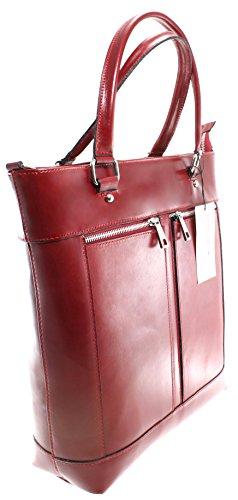 cuir véritable CTM Italy sac classique 100 poignées main à sac Rouge avec 34x36x10cm Made in femme vBqx1vwrz