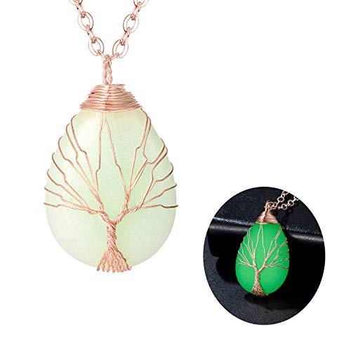 sedmart Rainbow Quartz Crystal Tree Life Necklace - Raw Titanium Quartz Natural Stone Root Tree Healing Gemstone Necklace for Lover ()