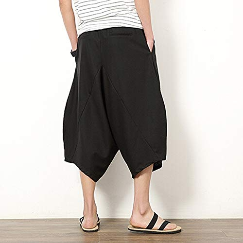 Longues Noir Hommes Pantalon En À Large Bouffant Lin Wudube Pour Manches Sarouel Coton De Court wqv6H1t