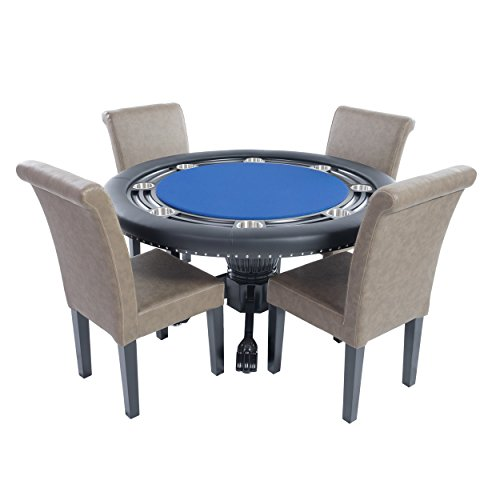 BBO Poker Nighthawk Poker Table for 8 Players with Blue Speed Cloth Playing Surface, 55-Inch Round, Includes 4 Lounge Chairs