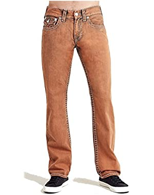 Men's Straight Leg Relaxed Fit Big T Stitch w/ Flap Jeans in Burnt Orange
