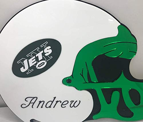 New York Jets NFL Football Helmet Wall Decor Wall Hanging Personalized Free Engraved Mirror Sign NFL Sports Memorabilia - with Your Name On ()
