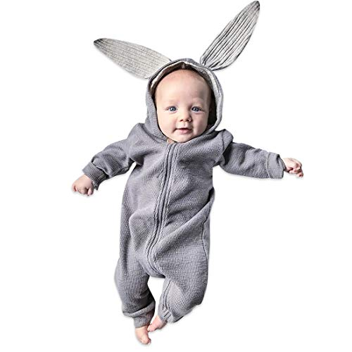 (Simplee Kids Animal Baby Bunny Romper Easter Pajamas Long Ear Rabbit Hoodie (3-6 Months,)