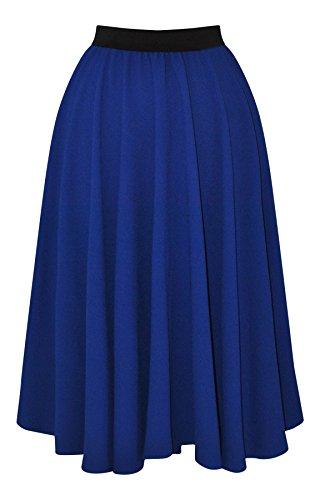 Para mujer 1219,2 cm s 1524 cm s estilo Vintage azul cobalto Swing crepé para Manualidades completo de cartuchos de tinta de círculos Rockabilly Jive para faldas